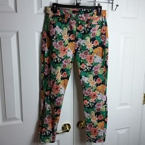 7 For All Mankind Floral Skinny Pants Sz 30